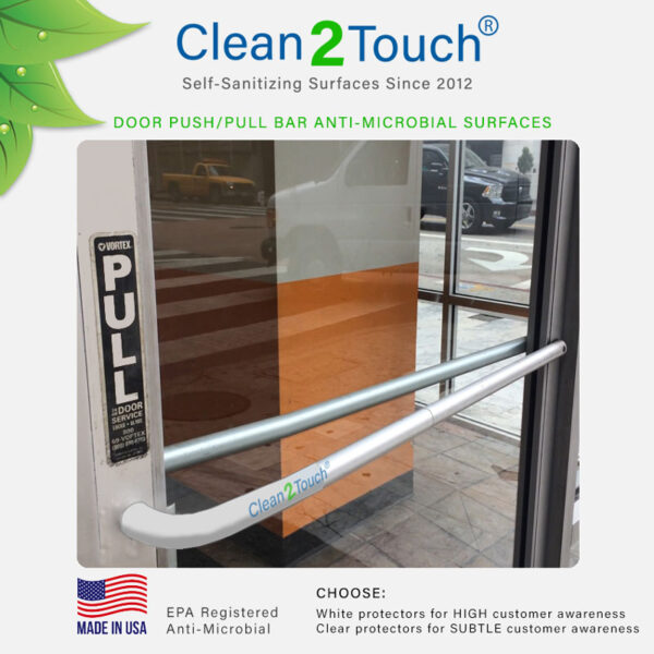 Push Pull door anti-microbial sticker clear